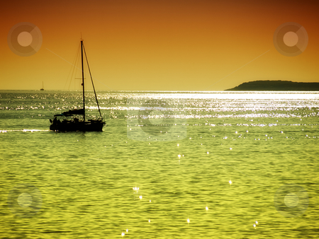 Red sea sunset stock photo, Charming colors above the Adriatic sea with natural solarization... by Sinisa Botas