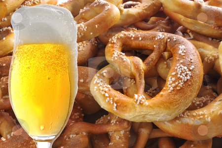 Beer and Pretzel stock photo, Beer and Pretzel Collage by Carmen Steiner