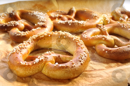 Pretzel stock photo, Pretzel on a baking sheet by Carmen Steiner