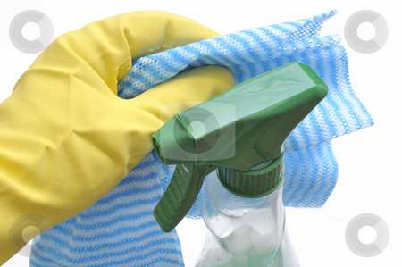 Household stock photo, Glove, cleaning rag and cleaning agent by Carmen Steiner