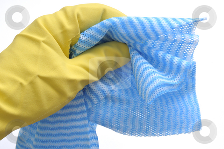 Housekeep stock photo, Glove and cleaning rag by Carmen Steiner