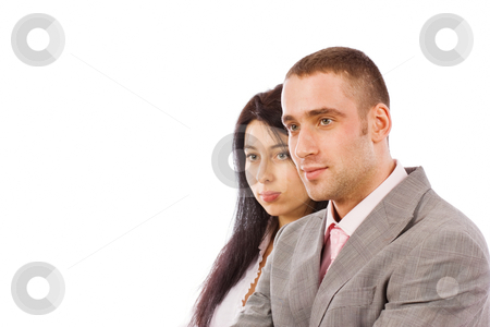 Young business people stock photo, Two young business people isolated on white by Mikhail Lavrenov