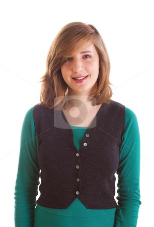 Smiling teenager girl stock photo, Portrait of smiling teenager girl on white background by Mikhail Lavrenov