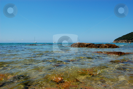 View of the sea from the beach stock photo, Panoramic view of the sea from the beach by ALESSANDRO TERMIGNONE