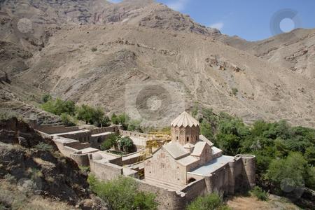 St. Stephanos Church in Iran stock photo, St. Stephanos Church in Iran near Jolfa. Big fortification by Tomasz Parys