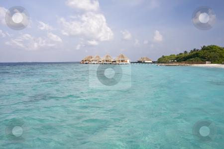 Tropical beach and Cabanas on Maldives Island stock photo, Tropical beach and Cabanas on Maldives Island by Sharron Schiefelbein
