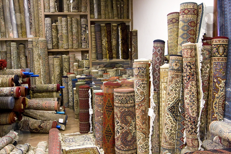 Many Carpets in India stock photo, Many Carpets in India by Sharron Schiefelbein
