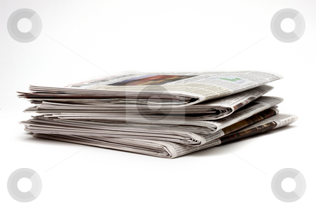 Five Newspapers stock photo, Stack of five newspapers shot on angle by James Barber