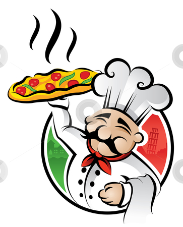 Pizza Chef stock vector clipart, Illustration of an italian cartoon chef with a freshly baked pizza by Thomas Amby Johansen