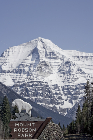 View of Mountain Robson Park Sign and Mount  Robson stock photo, View of Mountain Robson Park Sign and Mount  Robson by Sharron Schiefelbein