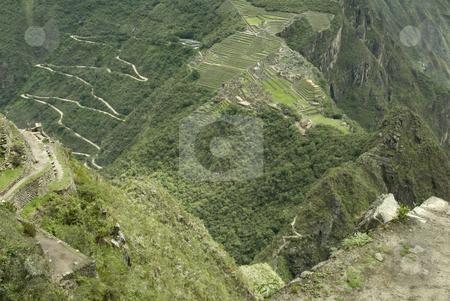 Machu Picchu aerial view stock photo, Machu Picchu aerial view by Sharron Schiefelbein