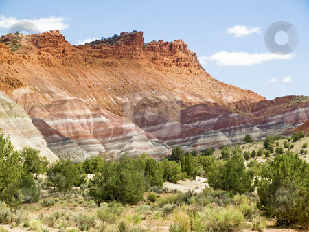 Technicolor Cliffs of Paria stock photo, Part of the Grand Staircase/Escalante National Monument, these amazing and vividly colored, layered cliffs of Paria, Utah have been the setting for many a western movie. (alos spelled Pahreah, Pareah, and Pariah) by Kenneth Keifer