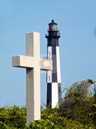 Memorial Cross and  stock photo, White stone cross memorial marks spot of first landing of colonists of Jamestown with the