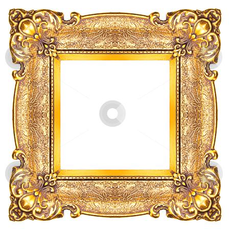 Square Golden Frame stock photo, Golden Frame isolated on white background, studio shot by Adam Radosavljevic