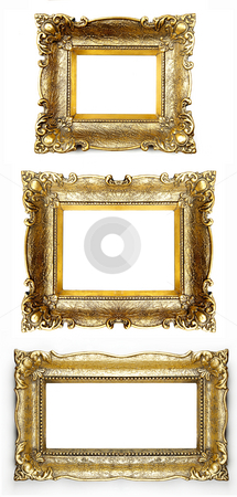 Three retro Picture Frame stock photo, Old Gold Picture Frame by Adam Radosavljevic