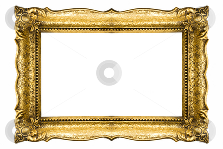 Gold Frame stock photo, Old Gold Frame Isolated On White Background by Adam Radosavljevic
