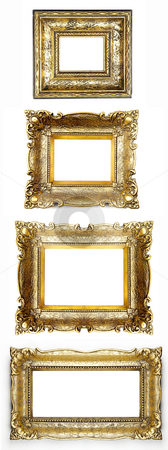 Old Picture Frame Collection stock photo, Old Gold Picture Frames by Adam Radosavljevic