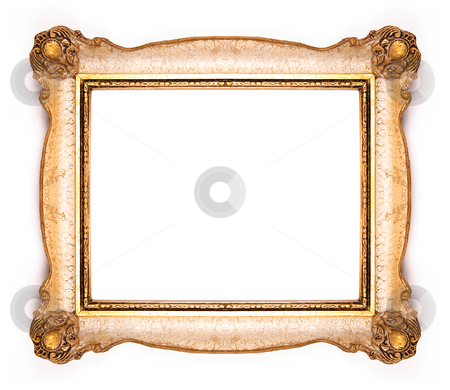 Decorated Picture Frame stock photo, Wood Frame on White Background by Adam Radosavljevic