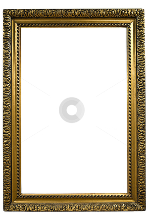 Picture Frame stock photo, Gold Frame on White Background by Adam Radosavljevic