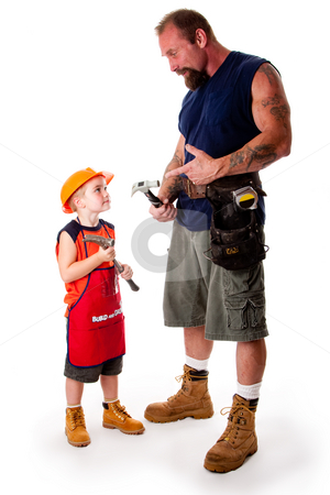 Father and son carpenter stock photo, A big guy father with his son, carpenters, holding hammers while dad is explaining by pointing at his tool, isolated. by Paul Hakimata