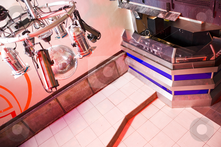 Nightclub interior stock photo, Interior of a nightclub with the lighting armature and the dj booth by Corepics VOF