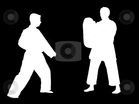 Karate training stock photo, Silhouettes of two karate fighters training by Fabio Alcini