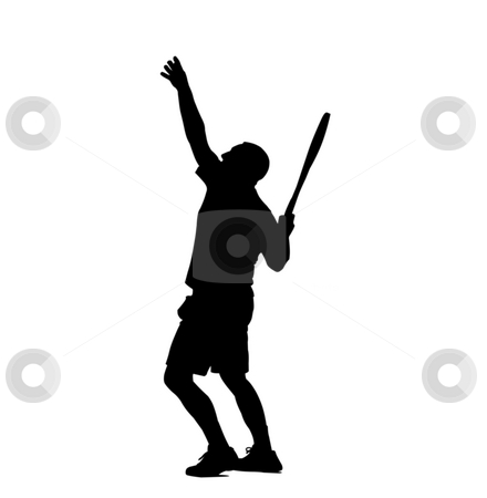 Tennis player stock photo, Black silhouette over white of a tennis player by Fabio Alcini