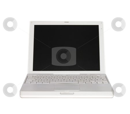 Laptop stock photo, White laptop, with black screen, over white by Fabio Alcini