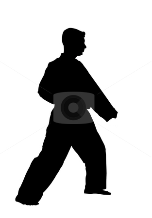 Karate stock photo, Silhouette of a karate fighter on white background by Fabio Alcini
