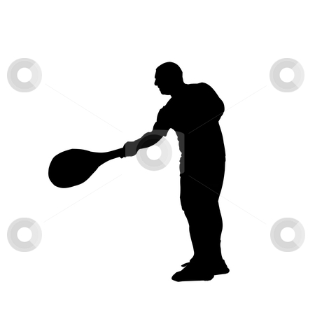 Tennis player stock photo, Silhouette of a tennis player over white background by Fabio Alcini