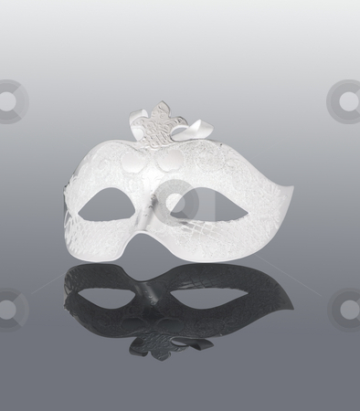 Mask stock photo, White Mask with black reflection, over gray background by Fabio Alcini
