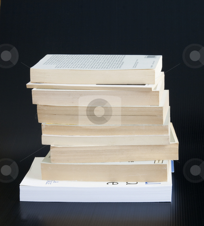 Books stock photo, A stack of books over black background by Fabio Alcini