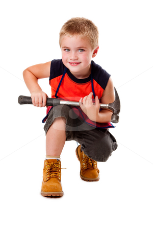 Boy with hammer stock photo, Cute young boy holding heavy duty hammer on his lap while squatting, isolated. by Paul Hakimata
