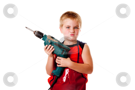 Boy kid with drill stock photo, Macho boy child with heavy duty drill and lots of attitude, isolated. by Paul Hakimata