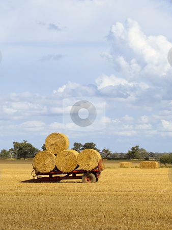 Bales on red trailer stock photo, Round bales on a red trailer at harvest time under a summer sky by Mike Smith