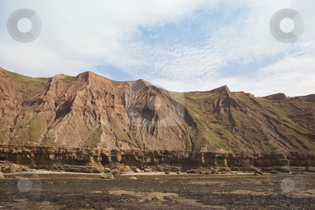 Coastal cliffs stock photo, Rock strata and clay cliffs on yorkshires east coast by Mike Smith