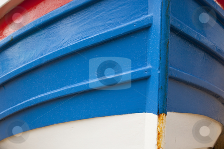 Prow of a filey coble stock photo, A close up of the prow of a brightly painted traditional small fishing boat by Mike Smith