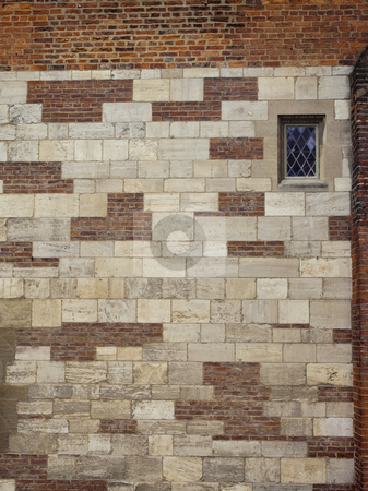Historic wall with window stock photo, An historic wall with leaded window in city by Mike Smith