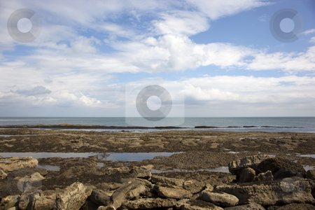 Rocks and sea 3 stock photo, Rocks by the sea on the east coast of england in summer by Mike Smith