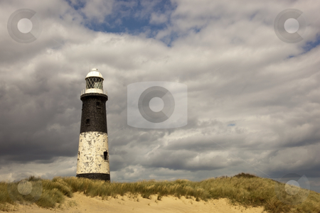 Spurn lighthouse 2 stock photo, View of spurn point lighthouse on the humber estuary by Mike Smith
