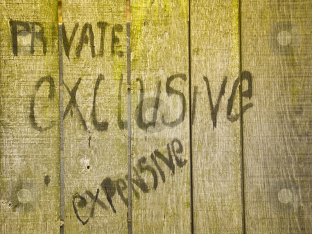 Graffiti in city stock photo, Graffiti in protest at proposed new development of historic city centre site by Mike Smith
