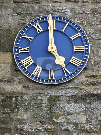 Blue clock stock photo, A gilded blue clock on a church tower by Mike Smith