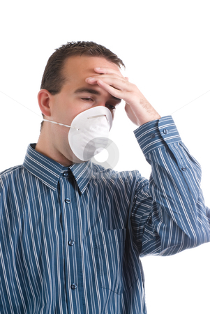 Cold and Flu stock photo, A young man with a respiratory infection is wearing a mask to protect others and is suffering from a headache, isolated against a white background by Richard Nelson