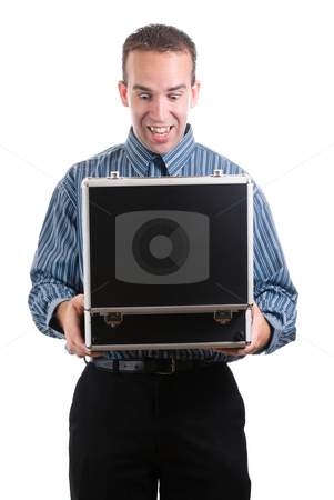 Private Documents stock photo, A young employee looking inside a case filled with private documents, isolated against a white background by Richard Nelson