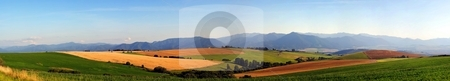 Panorama of meadows and fields in evening stock photo, Big resolution panorama of summer meadows and fields by Juraj Kovacik