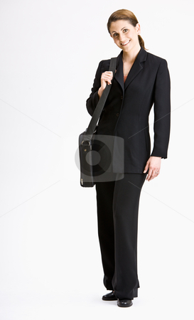 Businesswoman with briefcase stock photo, Businesswoman with briefcase by Jonathan Ross