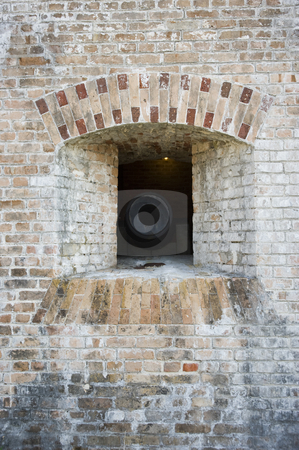 Cannon Embrasure Front stock photo, Outside view of a US Civil War cannon embrasure (Fort Pickens,  Gulf Islands National Seashore) by A Cotton Photo