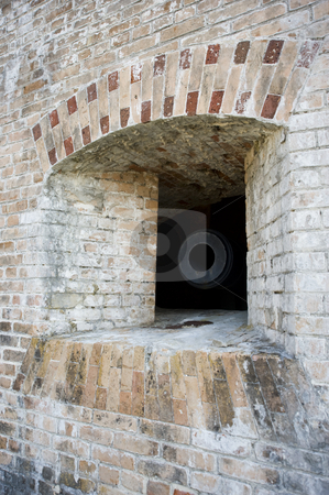 Cannon Embrasure Offset stock photo, Outside view of a US Civil War cannon embrasure (Fort Pickens,  Gulf Islands National Seashore) by A Cotton Photo