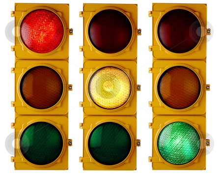 Traffic Lights stock photo, Traffic light repeated three times, each with a different light