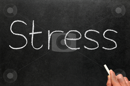 Stress written on a blackboard. stock photo, Stress written on a blackboard. by Stephen Rees